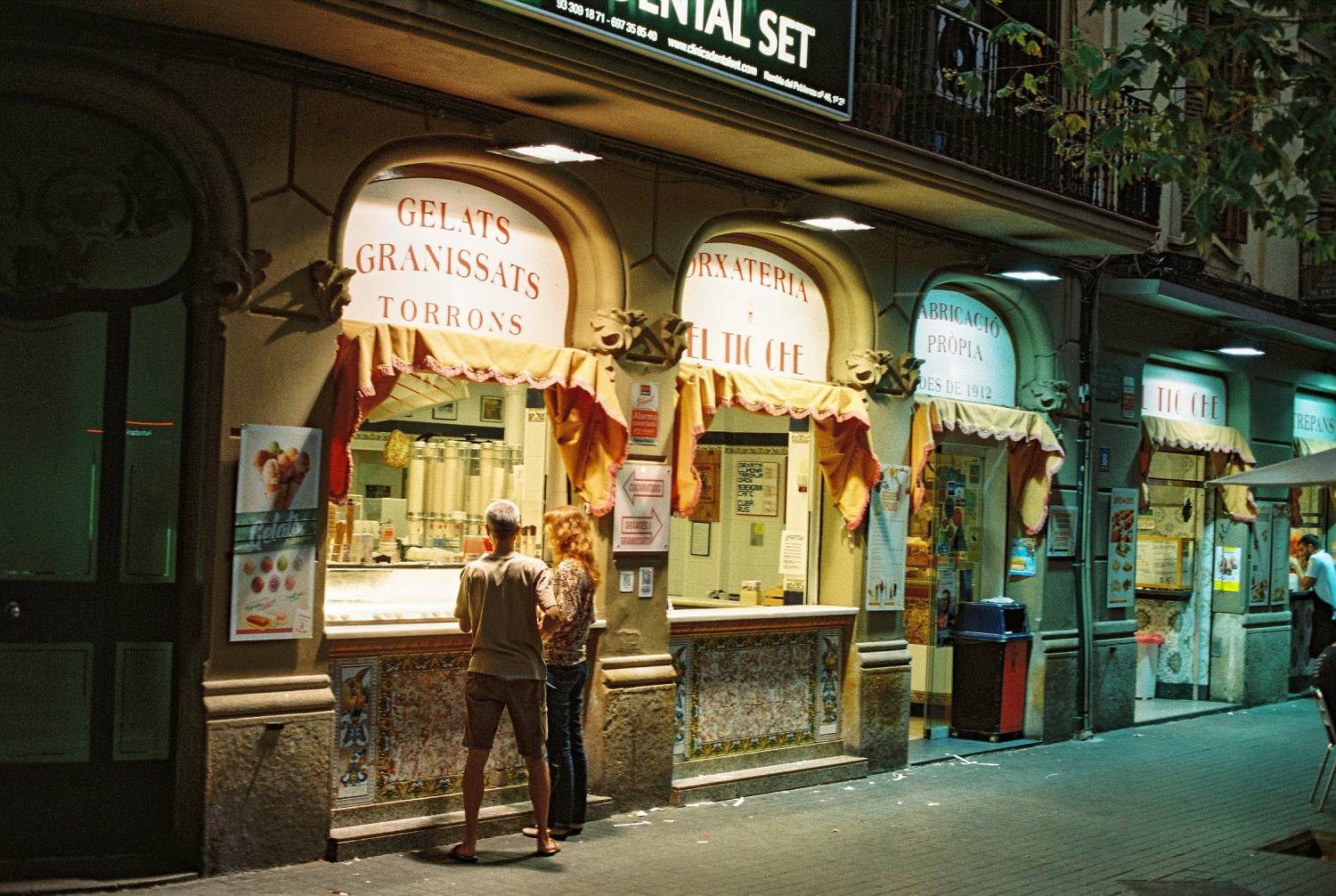 Barcelona film photography downtown at night