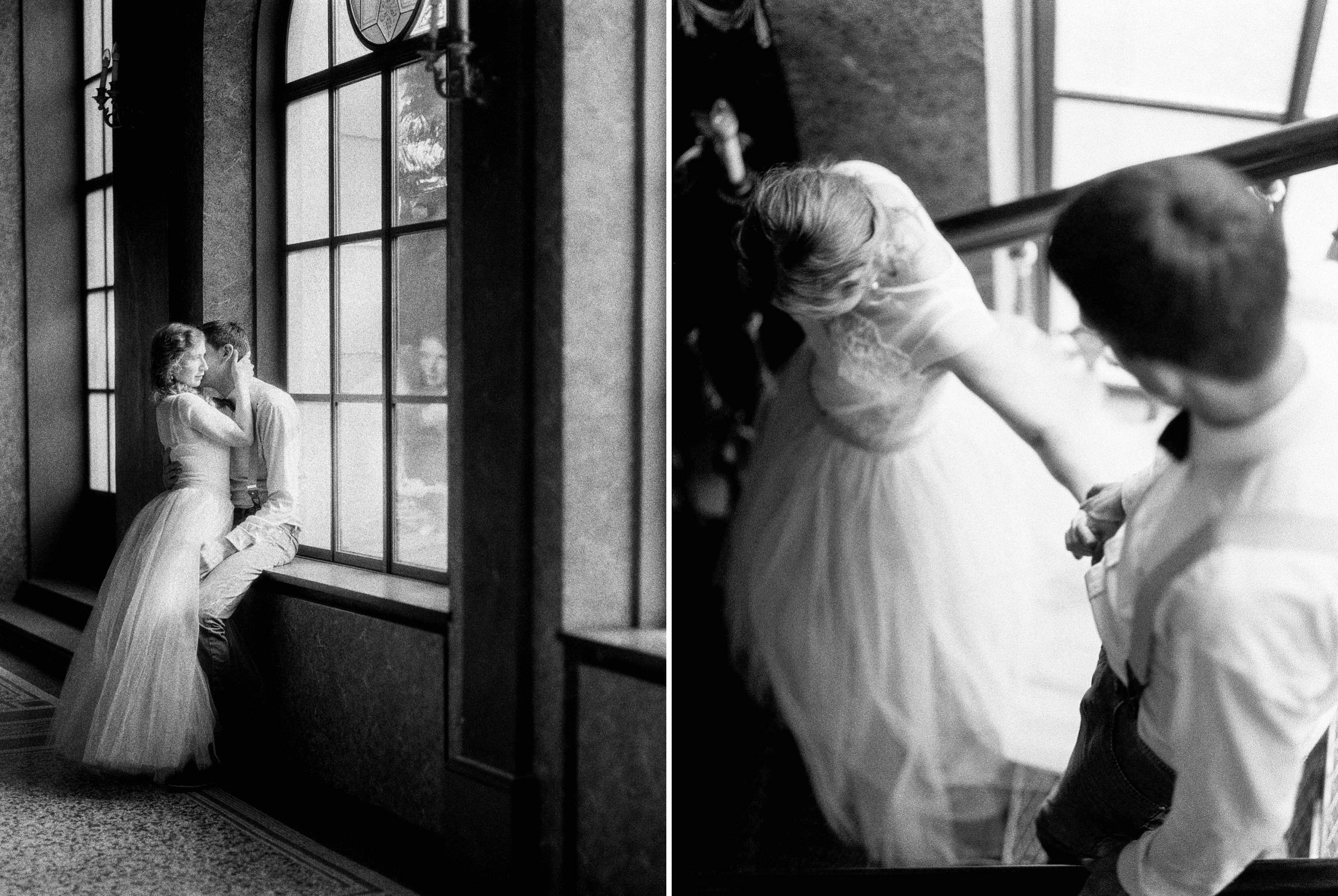 romantic couple session stairs black and white photography