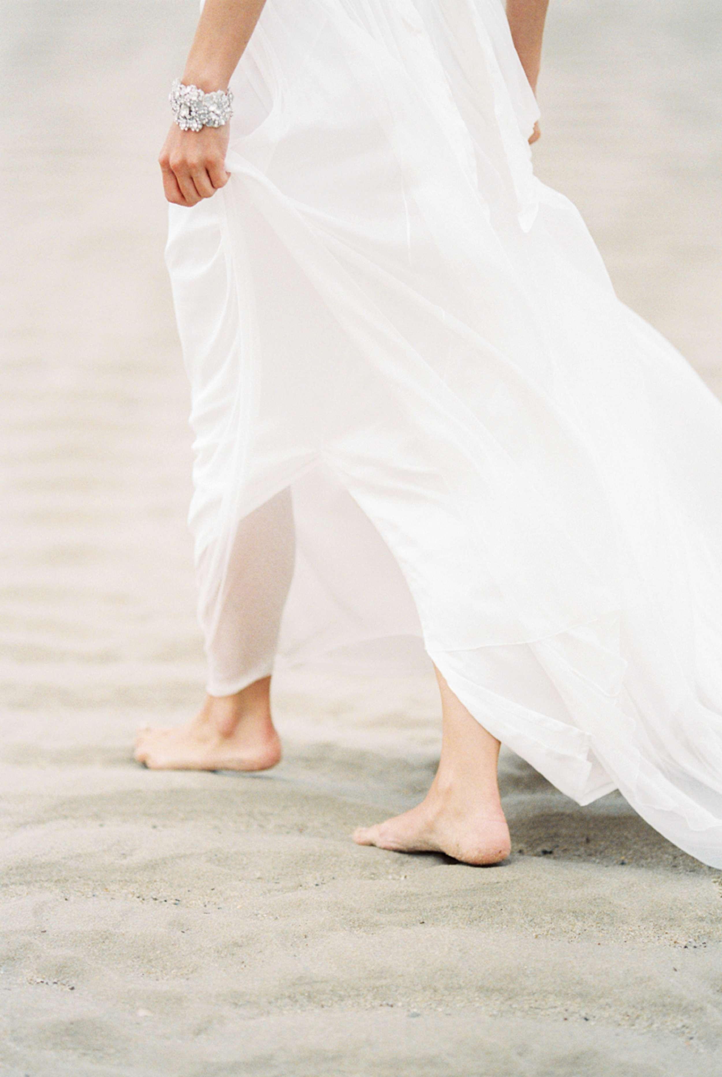 barefoot bride anna campbell dress North Sea wedding